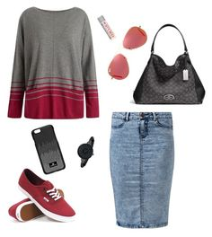 """Red, Black, and Gray"" by mikaylaxxrayann ❤ liked on Polyvore featuring Coach, Seasalt, Burt's Bees, Vans, Swarovski, Anne Klein, Ray-Ban, casual, black and red"
