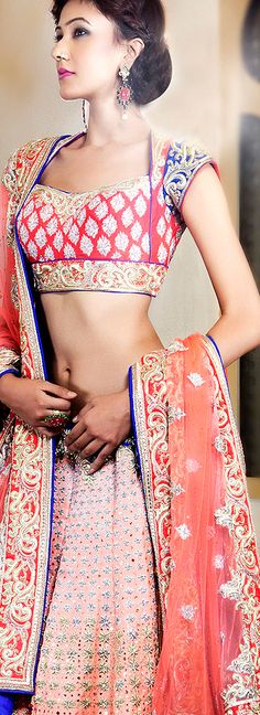 Bridal lehenga by Pam Mehta. Indian fashion.