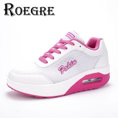 ROEGRE 2017 Breathable Air Mesh Women Wedge Shoes Lace Up Outdoor Trainers Casual Shoes Grey Red White Purple