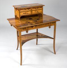 Psací stůl * leštěné dřevo vykládané dýhovou květinovou dekorací, se skříňkou na dokumenty, od Emile Gallé r.1880. * Francie.
