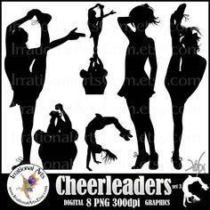 INSTANT DOWNLOAD Cheerleader Silhouettes set 3 digital graphics 8 png cheerleaders clipart graphics stunt cheer spirit