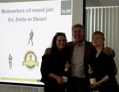 Onze medewerkers van de maand juni: Proficiat Emilie, Evi en Steven!