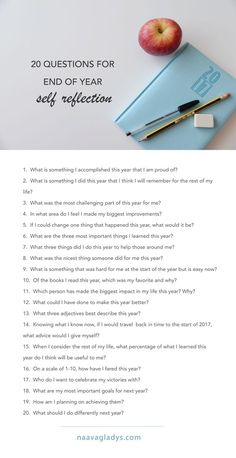20 Questions For End Of Year Self Reflection. #journal #prompts #selfreflection #naavagladys #journalprompts #inspiration