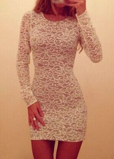 Gorgeous Long sleeve Lace Dress in Black and White