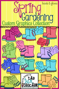 Spring Garden Boots & Gloves Clip Art Set!!!
