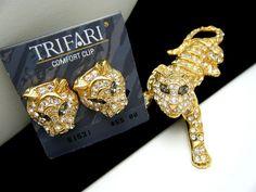 Trifari Figural Tiger Brooch Earrings Set 1991 Book Piece Rhinestones | eBay