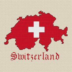 Switzerland Map & Flag Cross Stitch Chart Only