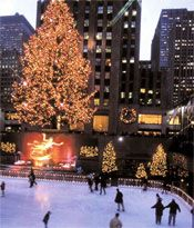 Ice skating under the lights at Rockefeller Christmas Tree.... unique NY experience!