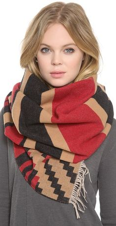 2013 Fall/Winter Snood Zig Zag Patterned Scarf, The Portland  Patterned Fringed Scarf,Snood Zig Zag Patterned Scarf #scarf #girls #snood www.loveitsomuch.com