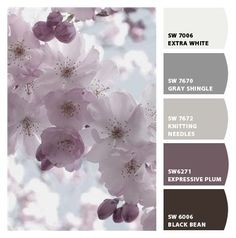 Great color combos smokey shades of gray and plum - Bedroom options.