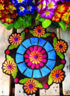 Fresh Flowers Wool Applique Candle Mat. I would enlarge for table cloth