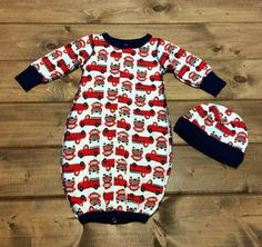NEW Baby Boy Sleeping Gown Set | Sleeping Gown and Hat | Red Truck Pattern | Baby Boy Fall Fashion at Hoity Toity