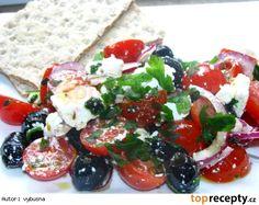 Paradajkový šalát s balkánskym syrom Caprese Salad, Feta, Salads, Salad, Insalata Caprese, Lettuce