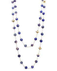 "18"" Long Real Semi Precious Stone Necklace - EN1137-BLUE"
