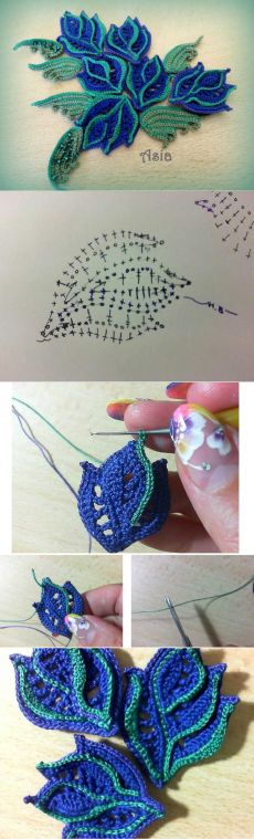 "Master Class - lace motif ""Openwork leaf with streaks"