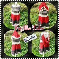 Poncho tejido a crochet, con capucha grande ☕  #PatAlbaTaller #diseñodeautor #emprendedora #tejidos #crochet #artesana #handmade #regalounico