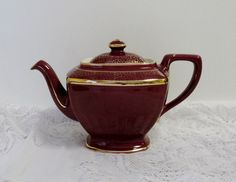 Hall China Hollywood Maroon Teapot with Gold decoration Hall