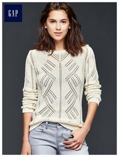Pointelle pullover sweater