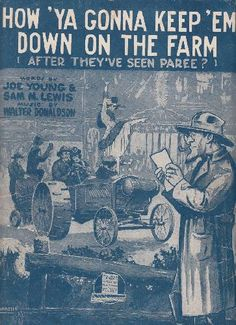 icollect247.com Online Vintage Antiques and Collectables - How Ya Gonna Keep Em Down on the Farm 1919 Sheet Music Paper
