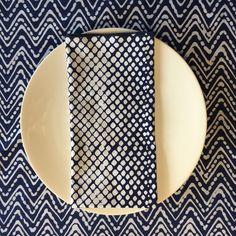 "NAPKINS - Hand stamp batik on Indigo Dyed Cotton   21"" sq.  Pattern: ULR   Shown on TABLE CLOTH pattern ZZ2. 59"" x 120""  Stamp Batik on Cotton"