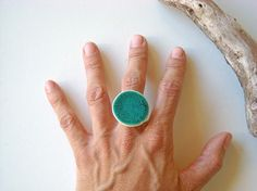 Turquoise Ring Statement ring fashion jewelry ceramic by azulado, $19.00