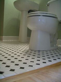 Octagonal Mosaic Tile Floors With Black Dot Diy Bathroom Decor Design Small