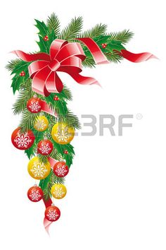 Christmas decoration garland with mistletoe fir-tree and balls