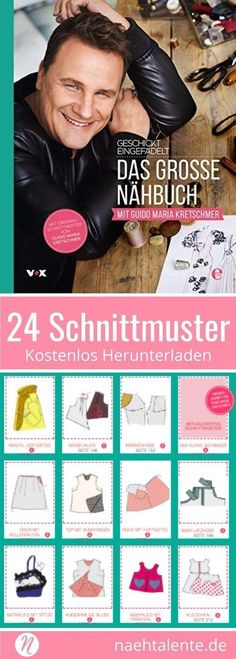 Geschickt Eingefädelt - Das große Nähbuch: Alle Schnitte aus dem Buch - free sewing patterns from the ingenious sewing show Threaded ❤️ Sew your dream wardrobe with these sensational designs ❤️ All cuts to print out at home ❤️ Skillfully Sewing Hacks, Sewing Tutorials, Sewing Crafts, Sewing Tips, Poncho Crochet, Fat Quarter Projects, Diy Mode, Leftover Fabric, Handmade Books