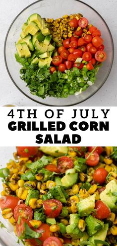Roasted Corn Salad, Grilled Corn Salad, Vegetarian Recipes, Healthy Recipes, Delicious Recipes, Corn Salads, Game Day Food, Avocado Salad, Best Appetizers