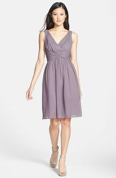 Donna Morgan 'Jessie' Twist Silk Chiffon Dress (Regular & Plus) available at #Nordstrom - color sterling NLO