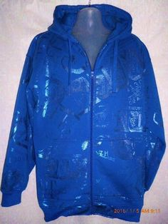 BEYOND THE LIMIT BTL Currency Dollars Blue Hoodie Jacket Zippered Glittery  2XL #BeyondtheLimit #Hoodie