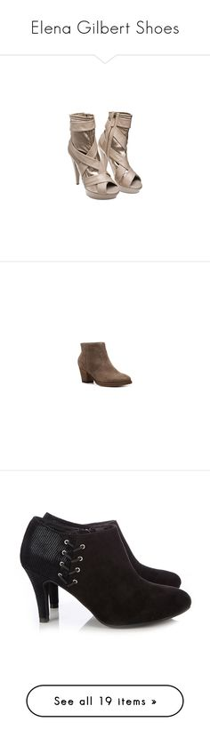 """""""Elena Gilbert Shoes"""" by taught-to-fly19 ❤ liked on Polyvore featuring shoes, the vampire diaries, boots, ankle booties, ankle boots, black, black booties, lace up high heel booties, lace up high heel boots and black high heel booties"""