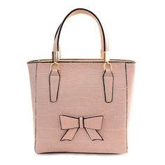 $16.47 Trendy Women's Tote Bag With Bow and Stone Pattern Design