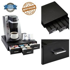 K Cup Pods Storage Drawer 36 Capacity Easy Open Coffee Pod Drawers Modern Style #AmazonBasics