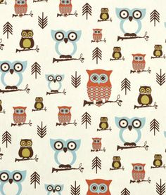Premier Prints Hooty Village/Natural Fabric. Orange, brown and blue nursery fabric with owls.