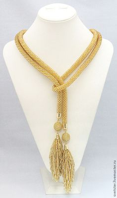 Buy or order Lariat gold tassel-tails in online shops on My Livemaster. Multifunctional decoration transformer, which You can wear as a belt, or as a . Bead Jewellery, Beaded Jewelry, Jewelery, Handmade Jewelry, Lariat Necklace, Beaded Earrings, Bead Crochet Rope, Crochet Ball, Diy Schmuck