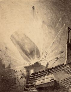 HENRIQUE ALVIM CORRÊA (Brazilian, 1876-1910) Martian Reinforcements, from The War of the Worlds, Belgium edition, 1906 Pencil and ink on paper laid on board
