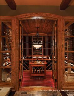 This beautiful wine cellar is accentuated by superb lighting. http://www.lutron.com/en-US/Residential-Commercial-Solutions/Pages/Residential-Solutions/SingleRoomSolutions.aspx?utm_source=Pinterest_medium=AllWorkNoPlay_HWQSWineRm_campaign=SocialMedia