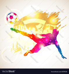 Buy Soccer Player by -TAlex- on GraphicRiver. Bright Rainbow Silhouette Soccer Player and Fans on grunge background, vector illustration. File saved as EPS Use. Fitness Backgrounds, Soccer Backgrounds, Soccer Silhouette, Silhouette Vector, Free Vector Images, Vector Free, Image Vector, Tottenham Hotspur Wallpaper, Champions League Draw