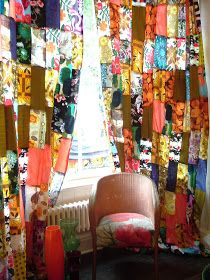 I've made another pair of patchwork curtains today. It's nearly killed me slaving away on the sewing machine in my glass-roofed workroom ...