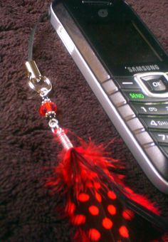 Red & Black Feather Phone / Purse Charm by ElementalKarma on Etsy, $10.00