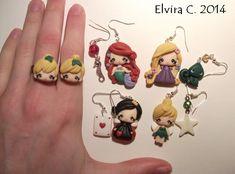 Disney polymer clay earrings by elvira-creations.deviantart.com on @deviantART