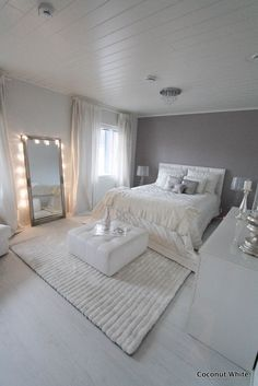 Coconut White Grey Bed Room Ideaschic