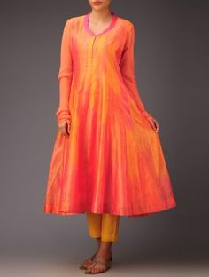 Orange-Pink Panel Chanderi Anarkali Kurta