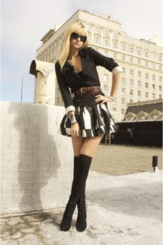 Black Fitted Blazer + B Print A-line Skirt + Black Over the Knee Socks + Black Lace Up Boots