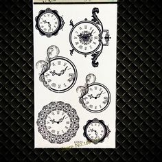 Black Clock Temporary Tattoo Supplies Flash Black Tattoo Sticker For Children GGF658 Fake Watches Tattoo Stickers Kids Gifts