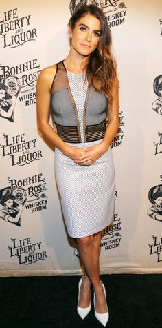 Nikki Reed celebrated the launch of Bonnie Rose in a sexy mesh-paneled color-block number with white pumps.