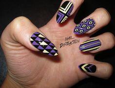 "naildistraction:  Purple and yellow nails. Colors used: China Glaze ""Spontaneous"", Essie ""Barbuda Banana"" &Wet 'N Wild ""Black Creme""."