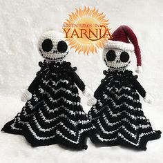 Crochet Jack Skellington lovey blanket. The perfect cuddle companion for tiny Nightmare Before Christmas fans!