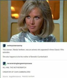 I'm so glad they used Ben's actual parents in Sherlock, but I didn't know his mom was in Classic Who!